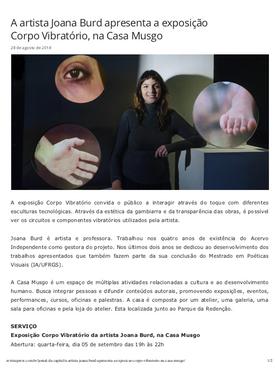 """28.08.2018 Portal Press """"A artista Joana Burd apresenta exposição"""""""
