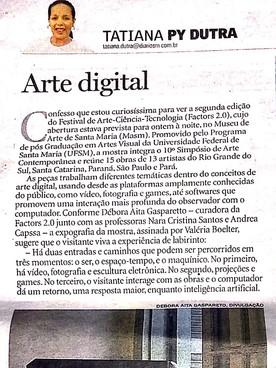 """03.09.2015 Jornal Diário de Santa Maria """"Arte Digital"""""""