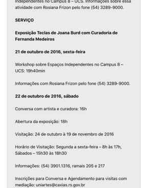 """05.10.2016 Noticas PCS """"Exposição Teclas da artista Joana Burd"""" 02"""