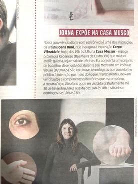 """05.09.2018 ZeroHora """"Joana expõe na Casa Musgo"""""""