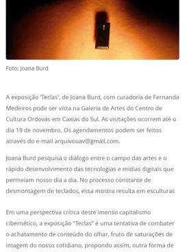 """25.10.2016 Tua Rádio """"Exposição Teclas, de Joana Burd"""""""