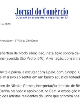 """27.08.2019 Jornal do Comércio """"Arte em Silêncio"""""""