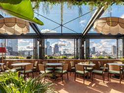 Bifold window at Hoxton Hotel roof top restaurant