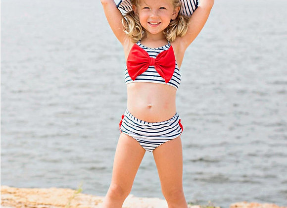 Navy Stripe Bow Bikini ($2 Lettermail Eligible)
