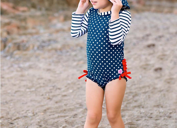 Navy Polka Dot One Piece Rash Guard ($2 Lettermail Eligible)