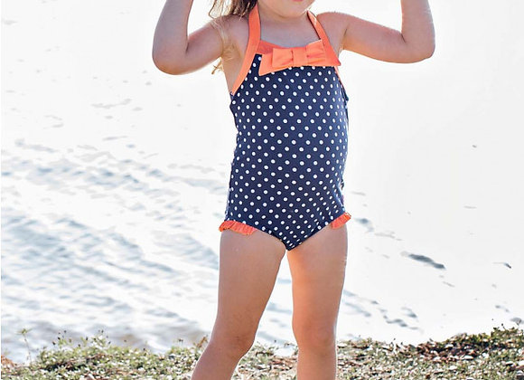 Navy Polka Halter One Piece ($2 Lettermail Eligible)