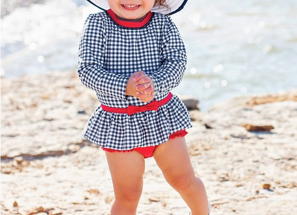 Navy Gingham Skirted One Piece Rash Guard ($2 Lettermail Eligible)