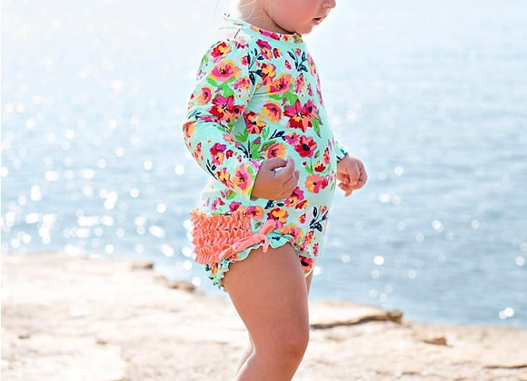 Painted Flower One Piece Rash Guard ($2 Lettermail Eligible)