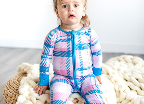 Rosy Plaid Zipper Sleeper