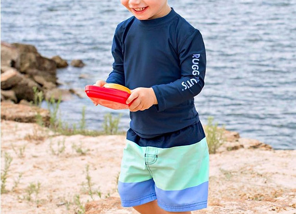 Boys Mint & Blue Clour Block Swim Trunks ($2 Lettermail Eligible)