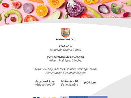 🥘 Invitación II Mesa Pública 2020 del Programa de Alimentación Escolar PAE