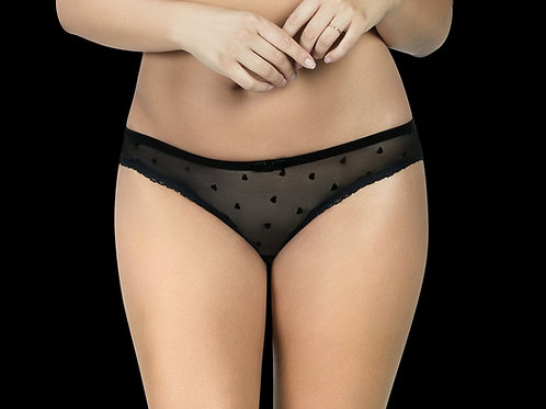 Black Lily Bikini Panty On Model, Close-up Mesh with hearts