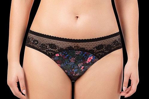 Parfait Jade A1653 Bikini Panty Black with Floral