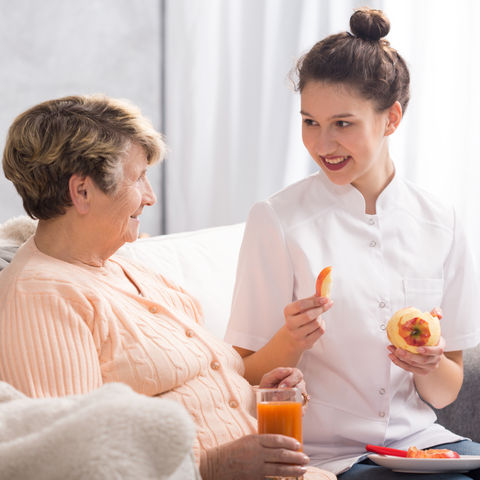 Smiling caregiver giving healthy meal to