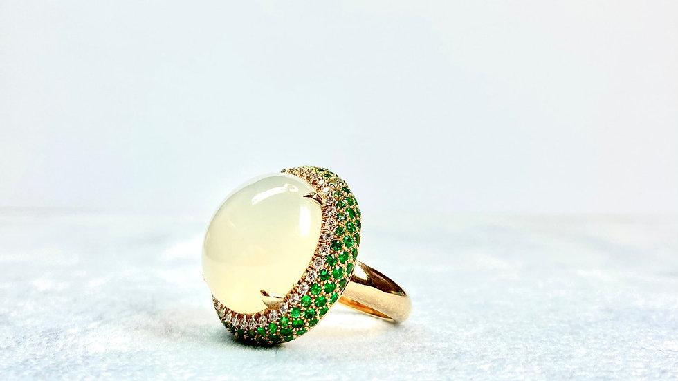 Yellow gold ring, Moonstone,Diamonds, Tsavorites