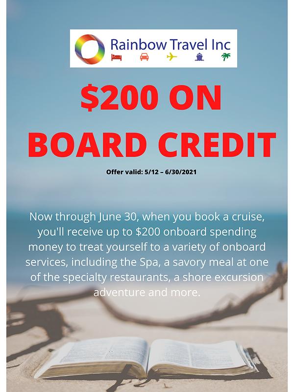 $200 ON BOARD CREDIT Offer valid 512 – 6