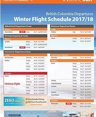 SUNWING WINTER FLIGHT SCHEDULE