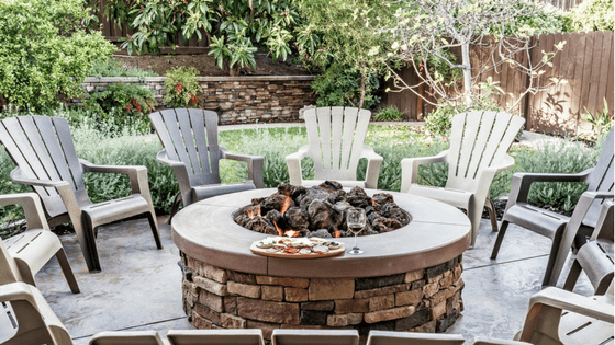 Fire pit provides place for family and friends to gather in Dayton Ohio yard.