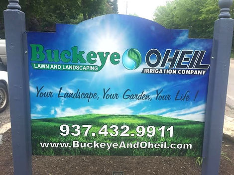 Retail sign for Buckeye Lawn and Landscaping & Oheil Irrigation