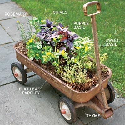 Planter garden in wagon via This Old House.
