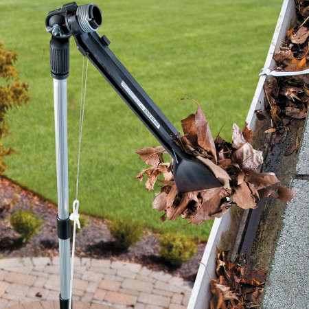 Tool to scoop debris from gutters while standing on the ground.