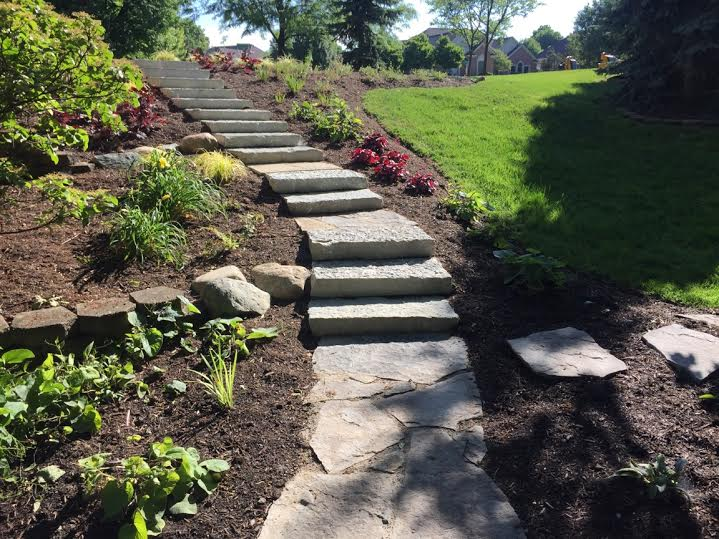 Landsacpe on a slope that Buckeye Landscaping built in Dayton Ohio_