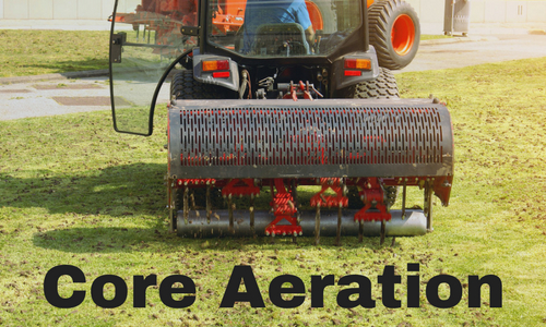 Core aeration removes soil and thatch plugs from lawn.