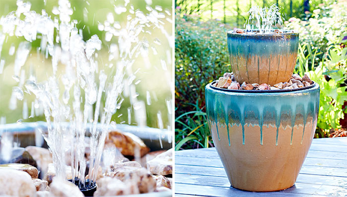 Two tiered water feature for patio via Lowes.
