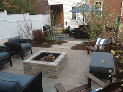 Patio and fire pit in backyard of house near Dayton Ohio_