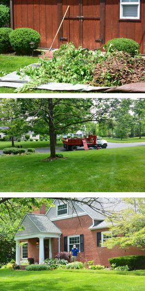 Landscape service in progress at Kettering Ohio home.