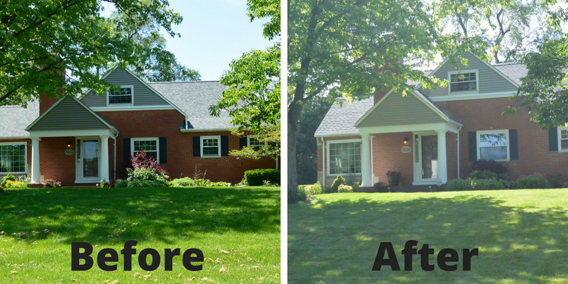 Landscape cleanup service in Kettering Ohio before and after.