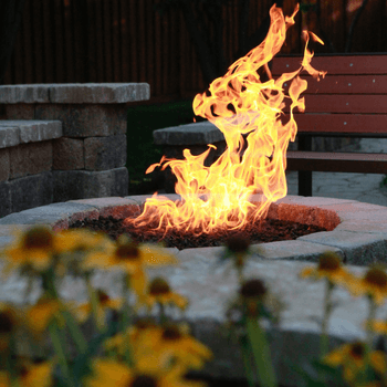 A fire pit adds ambiance to any yard.