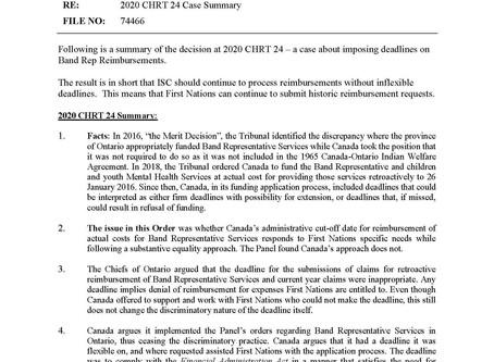 MEMORANDUM: 2020 CHRT 24 Case Summary