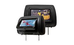 Encosto de Cabeça com Tela Monitor, com Leitor de DVD, sem zíper, Preto, Cinza Grafite ou Bege Caramelo