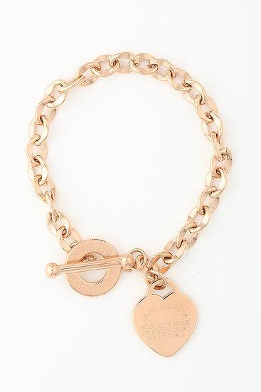 Kanika Heart & Cross Bracelet - Rose Gold