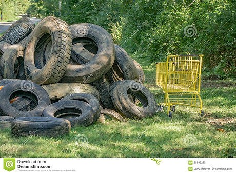 pile-muddy-tires-grocery-cart-collected-