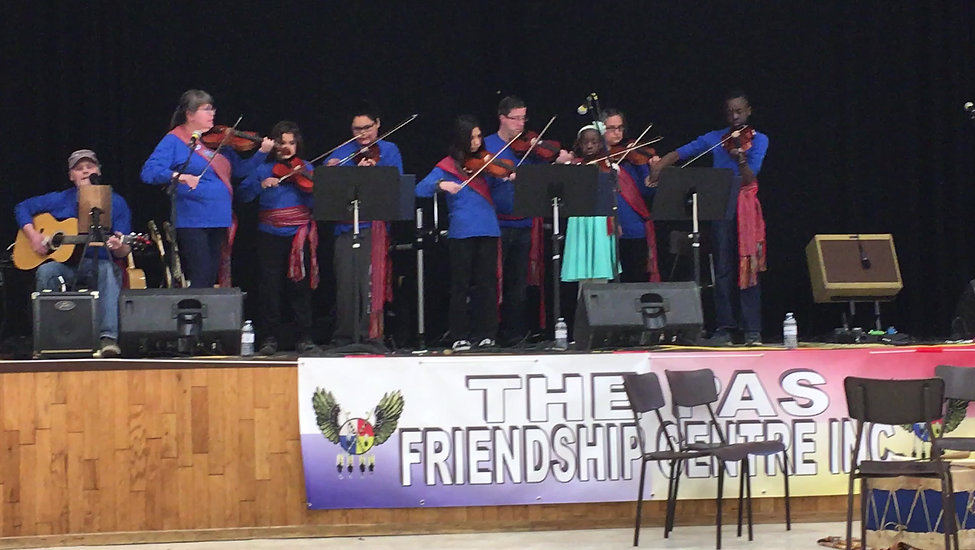The Pas Metis Fiddlers performing at the Metis Hall, June, 2019
