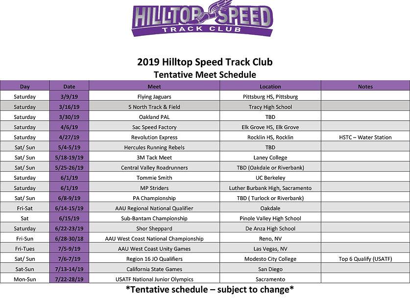 2019_ Hilltop Speed Track Club Schedule