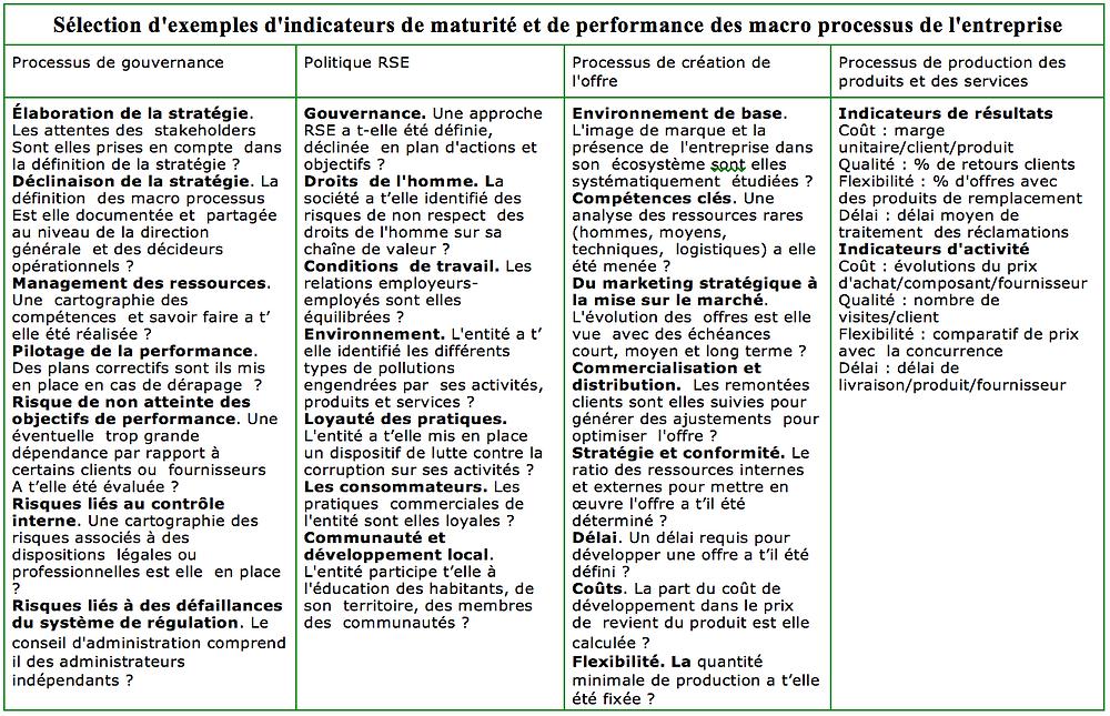 Indicateurs de maturité et de performances des maco-processus
