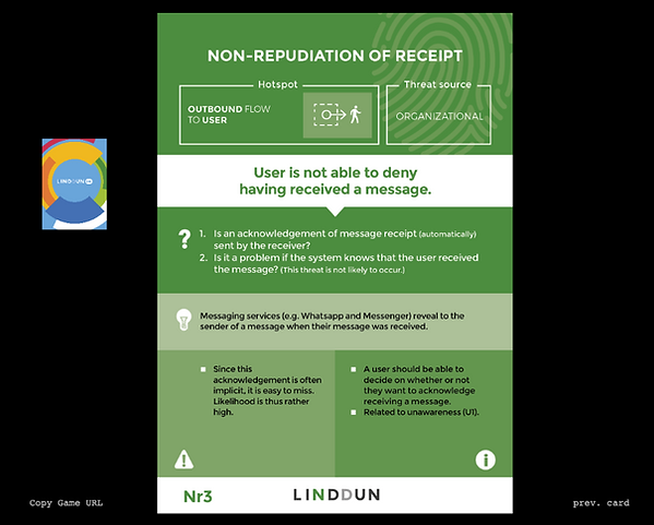 Screenshot of the online version of LINDDUN GO
