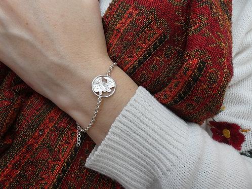 Bracelet flaque d'argent cerclée