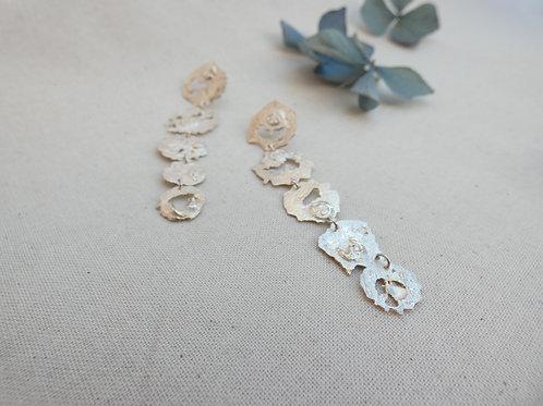 Boucles d'oreilles pendantes 5 flaques d'argent