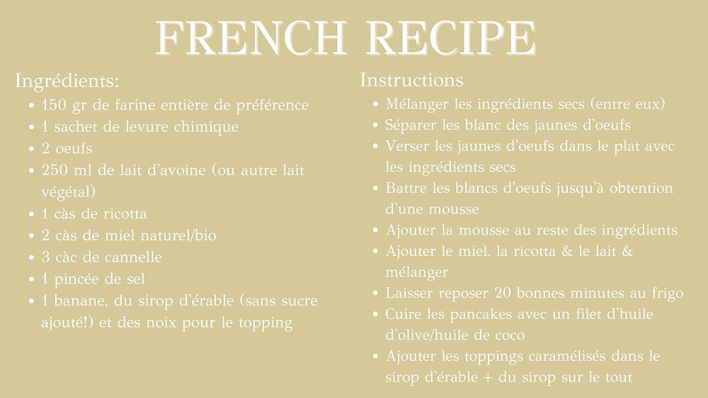 Healthy cinnamon pancakes - french recipe