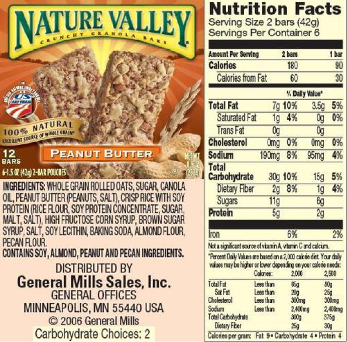 Peanut butter bar's ingredient list and label to eat healthily