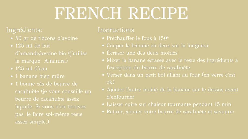 Healthy Baked Banana & peanut butter porridge - french recipe
