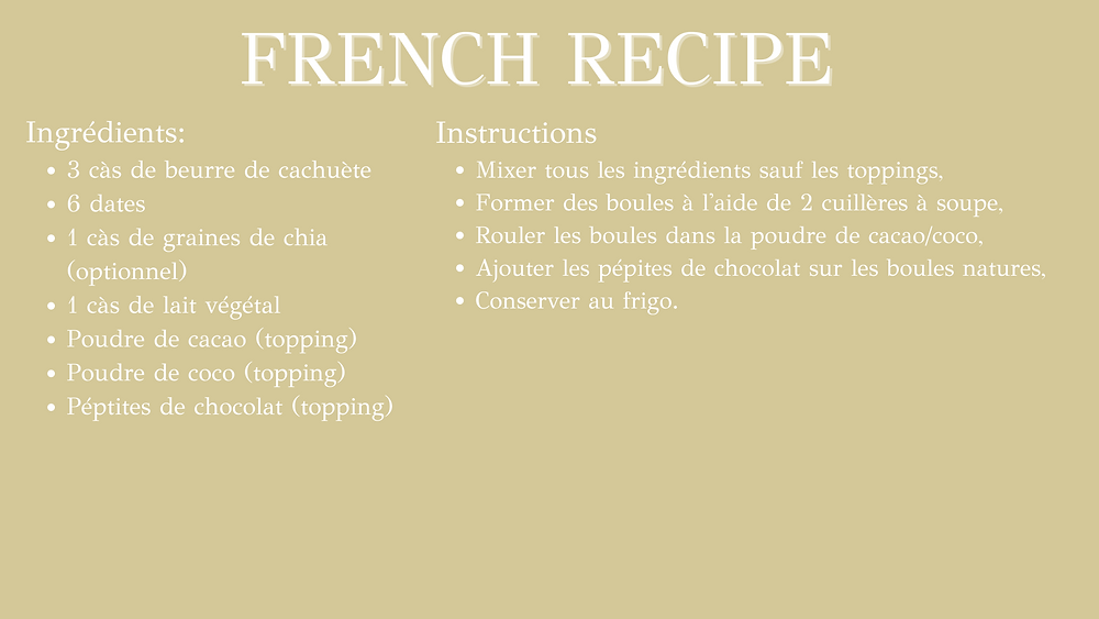 Energy balls french recipe