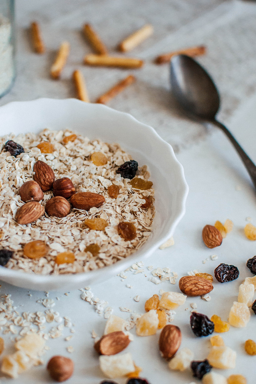 Healthy breakfast bowl with oatmeal and almond