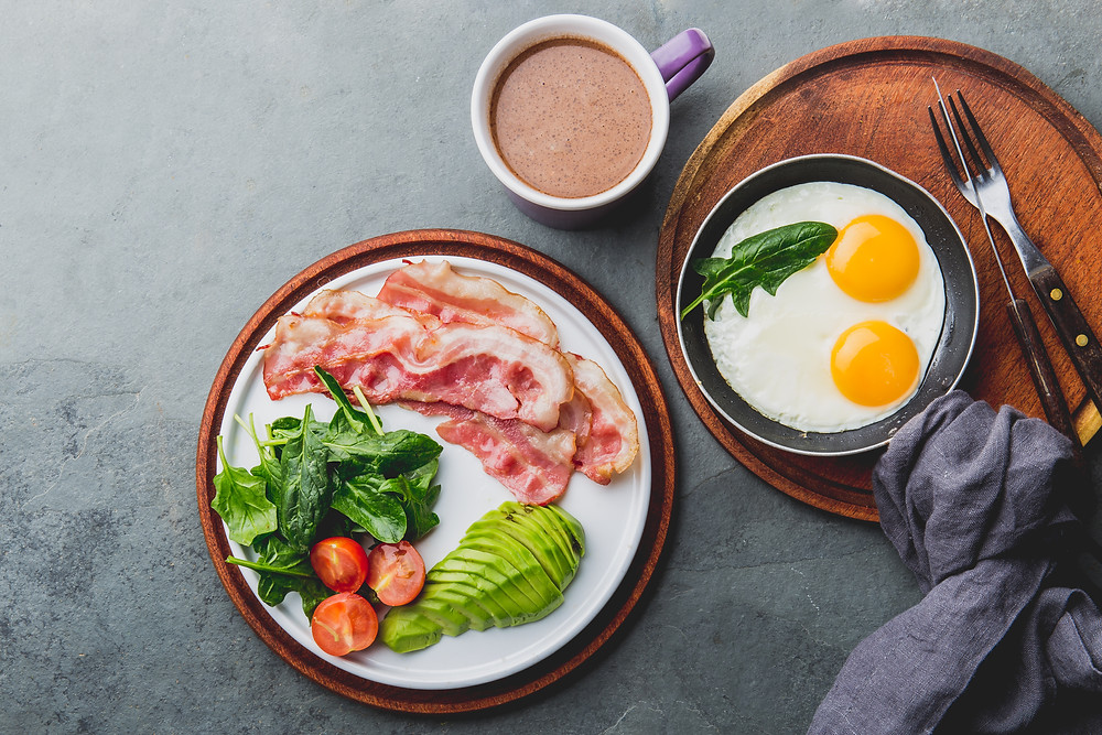 Aerial view of two healthy plates and a cup of coffee