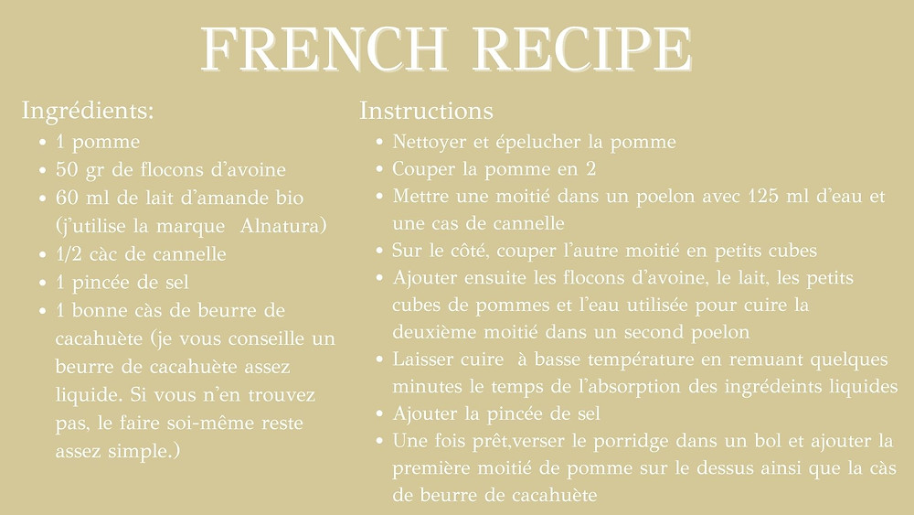 Apple Porridge - health recipe in french