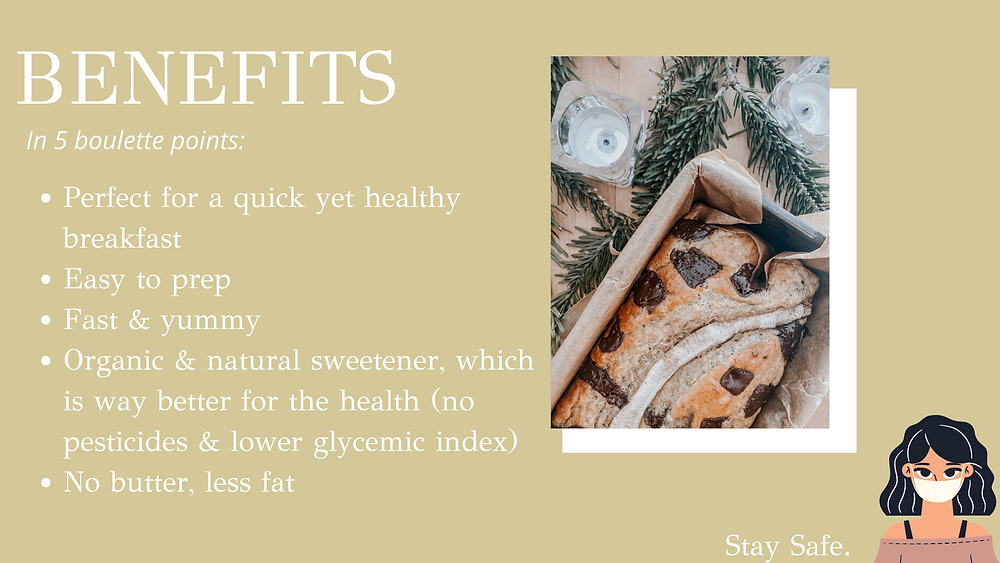 Benefits of this healthy chocolate banana bread in 5 bullet points